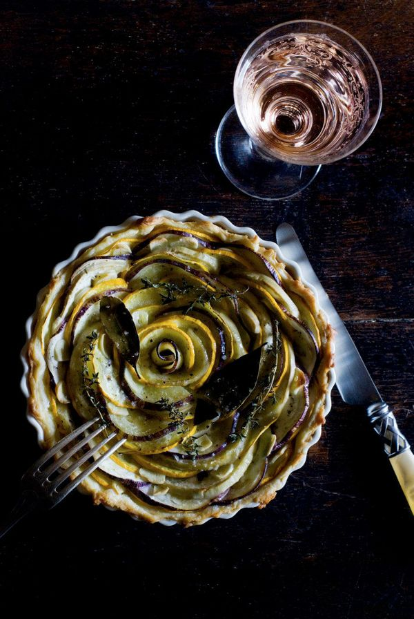 "<strong>Get the <a href=""http://mimithorisson.com/2013/05/02/spring-follies/"" target=""_blank"">Zucchini & Aubergine Tart recip"