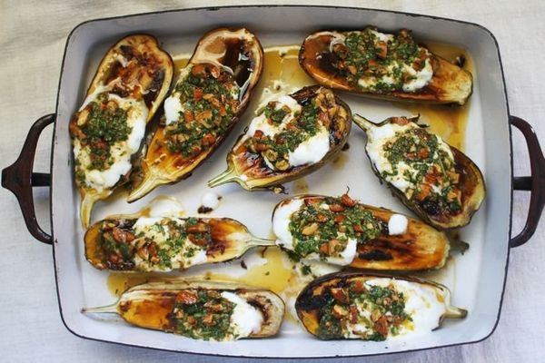 "<strong>Get the <a href=""http://food52.com/recipes/24528-roasted-eggplant-with-cilantro-almond-salsa"" target=""_blank"">Roasted"