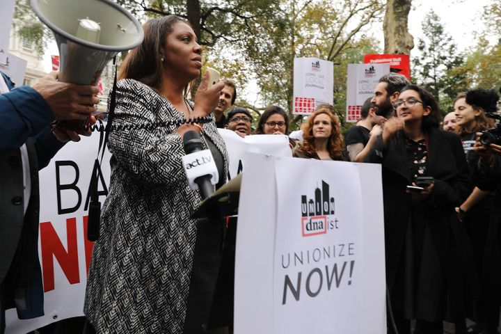 "Letitia ""Tish"" James speaks at a rally in Manhattan for unionized journalists in November 2017."