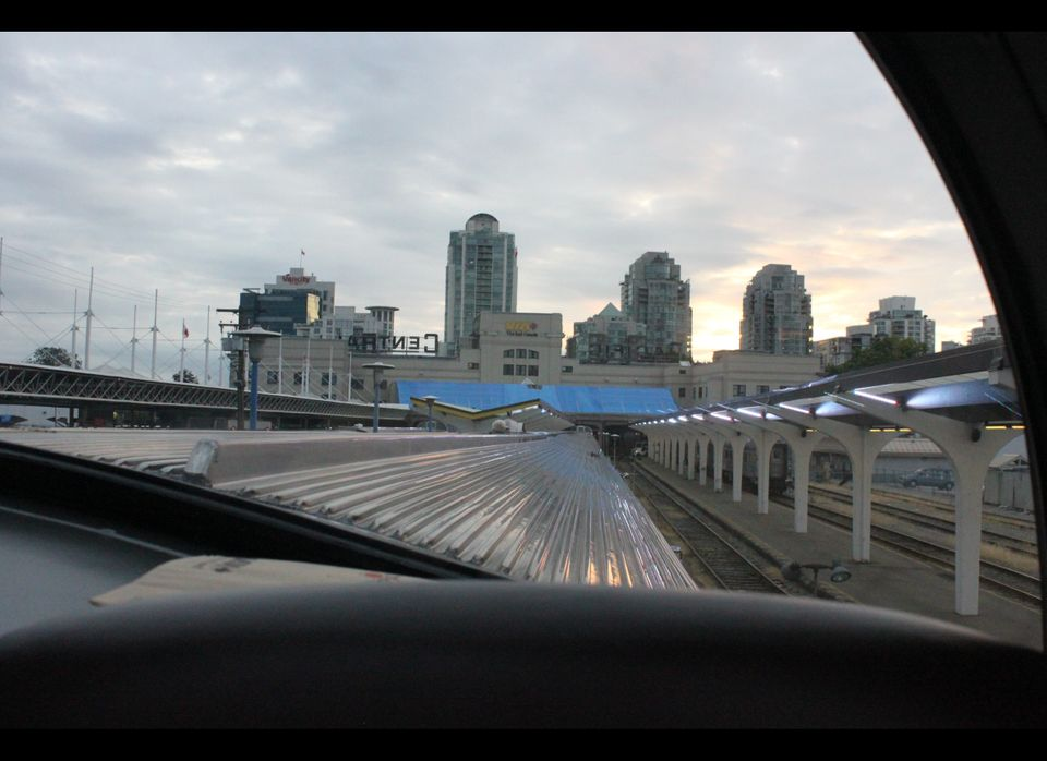 A twilight departure from Vancouver's Pacific Central Station