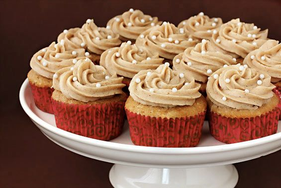"""<strong>Get the <a href=""""http://www.gimmesomeoven.com/vanilla-chai-cupcakes/"""" target=""""_blank"""">Vanilla Chai Cupcakes recipe</a"""