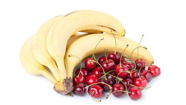 sweet cherries and bananas ...