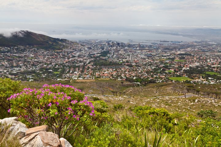 looking down at cape town from...