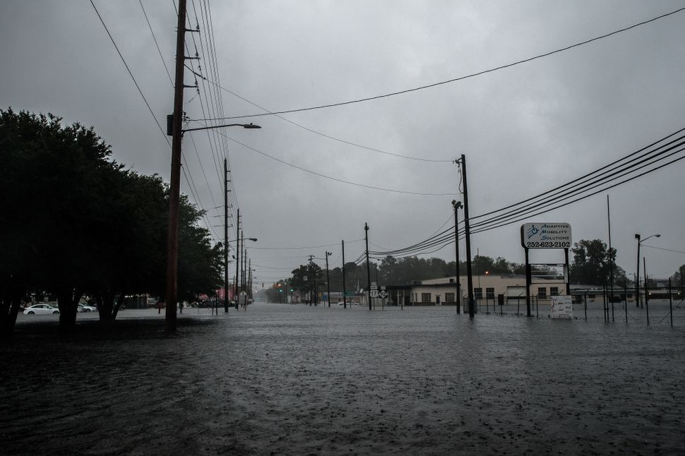 A view looking east down Fifth Street at the flooded downtown area in Washington, North Carolina on Friday.