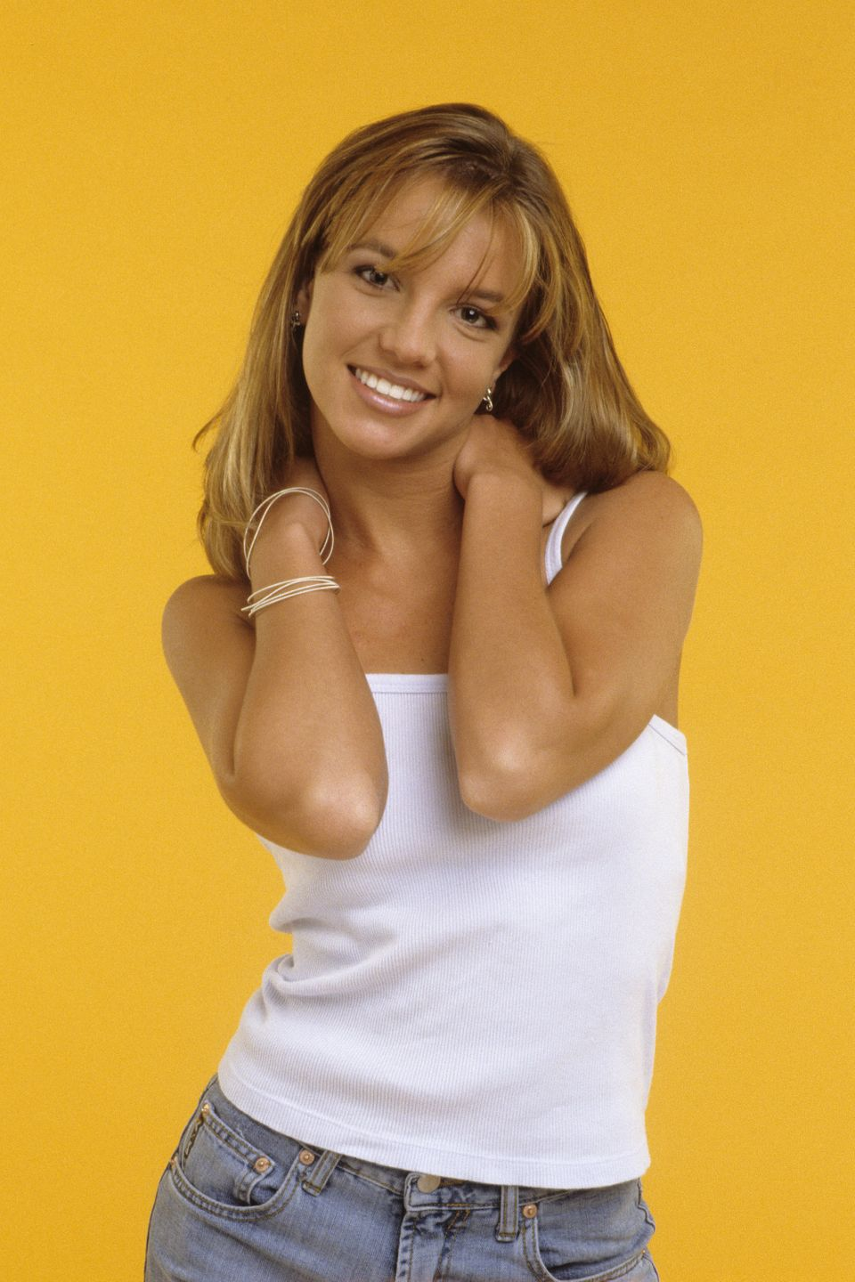 NEW YORK - JANUARY 01: (EXCLUSIVE COVERAGE – PREMIUM RATES APPLY)  Britney Spears poses in a Studio in 1998 in New York Cit