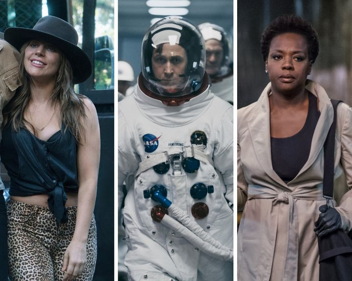 "Lady Gaga in ""A Star Is Born,"" Ryan Gosling in ""First Man"" and Viola Davis in ""Widows."""