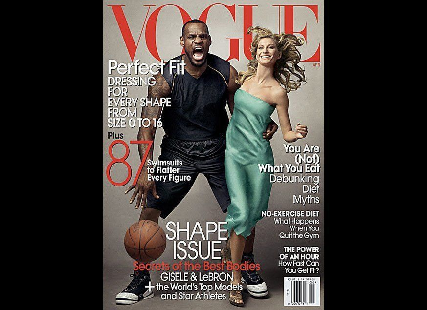 Vogue's April 2008 shape issue featured NBA star LeBron James and Brazilian supermodel Gisele Bundchen in a way that many bel