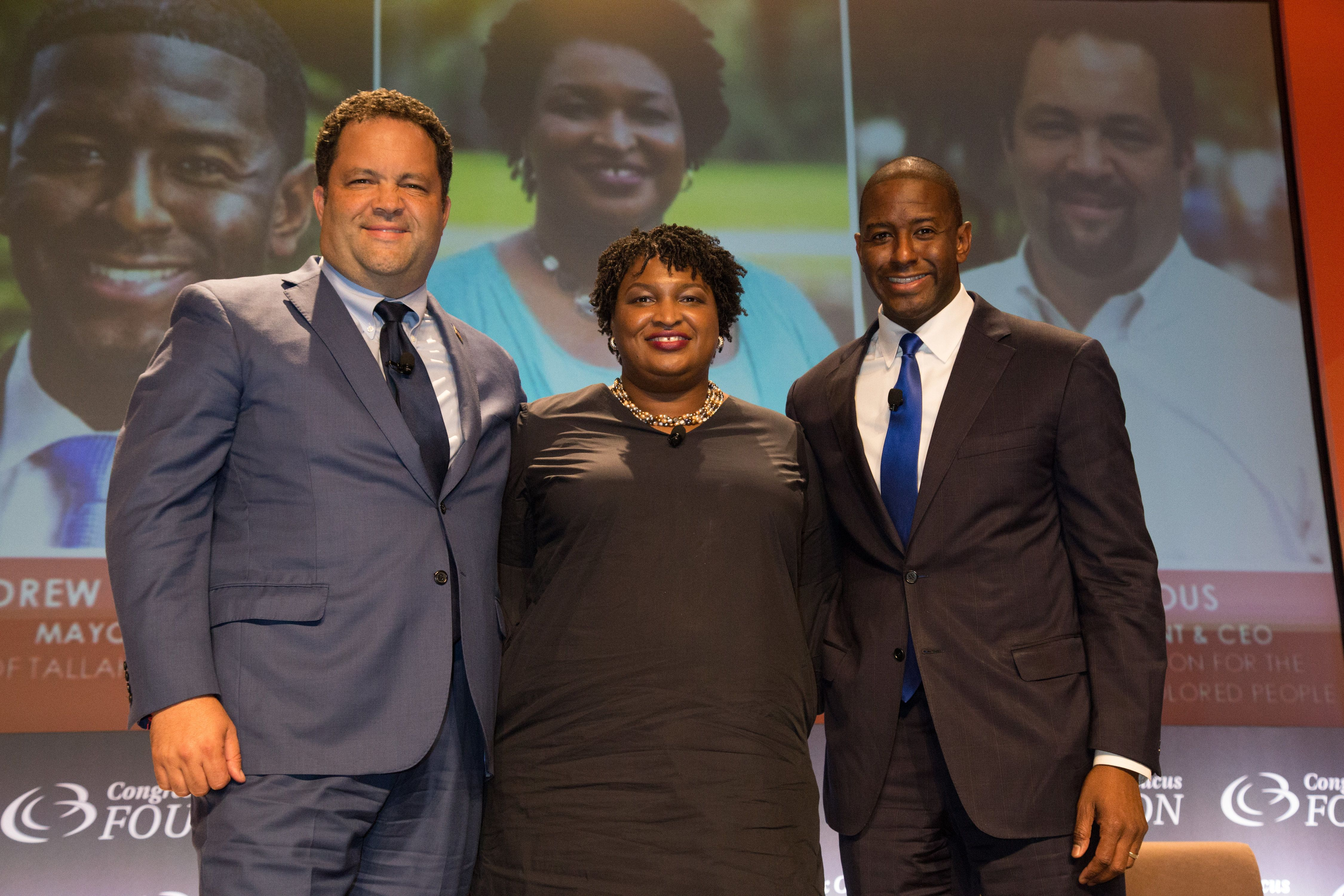 WASHINGTON, DC - SEPTEMBER 13:  (L-R) Democratic nominee for Governor of Maryland, Ben Jealous, Democratic nominee for Governor of Georgia, Stacey Abrams, Democratic nominee for Governor of Florida and Mayor, Andrew Gillum serves as panelists for 'The Politics of The New South: History In The Making Town Hall A Historic Policy Discussion' at 48th Annual Congressional Black Caucus Foundation Conference on September 13, 2018 in Washington, DC.  (Photo by Brian Stukes/Getty Images)