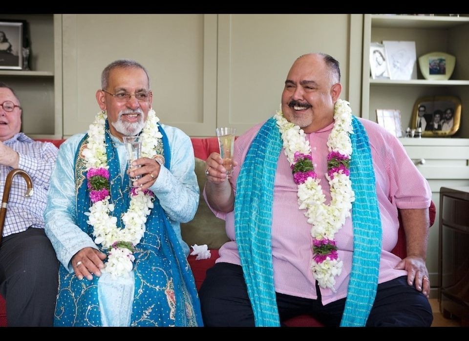 The grooms: Anil, left, and David, right.