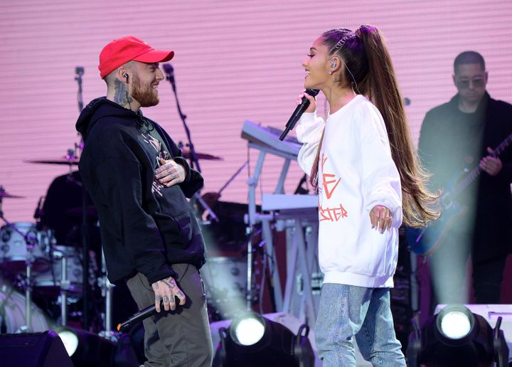 Mac Miller and Ariana Grande perform at the One Love Manchester Benefit Concert in June 2017.