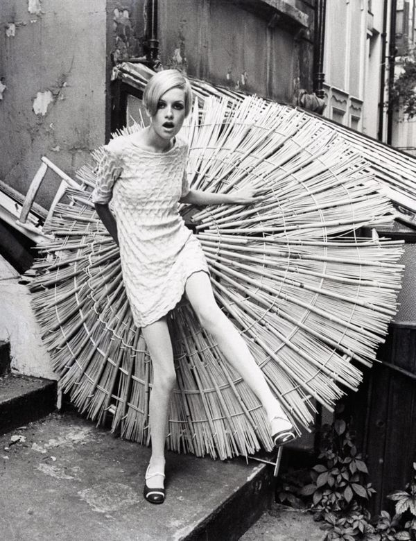 The model poses outdoors in 1966.