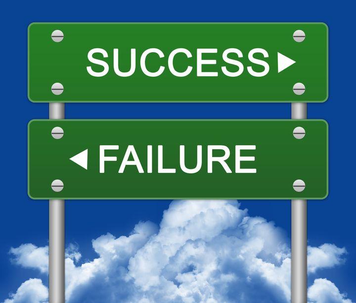 success or failure traffic sign ...