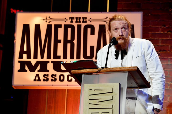 Tyler Childers accepts an award at the 2018 Americana Music Honors and Awards at Nashville's Ryman Auditorium on Wednesday.