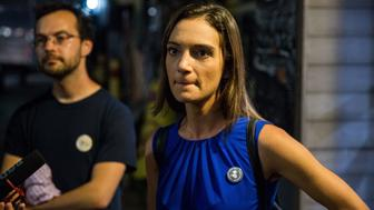 NEW YORK, NY - SEPTEMBER 13: Insurgent Democratic Socialist candidate Julia Salazar addresses the media after defeating incumbent Democrat State Senator Marty Dilan on September 13, 2018 in New York City. Despite a campaign marred by controversy, Salazar's message of housing reform, workers' rights, and economic justice won over her district to defeat Dilan, who was seeking a ninth term in office.  (Photo by Scott Heins/Getty Images)