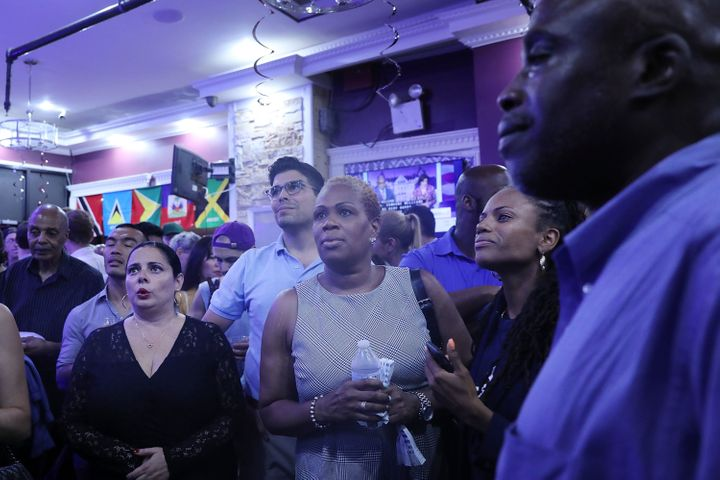 Supporters watched the results of the New York Democratic primary race at candidate Cynthia Nixon's election night watch part