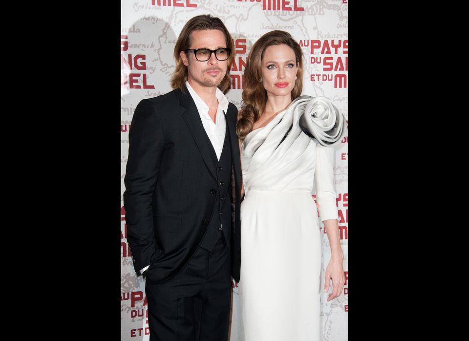 Brad Pitt and Angelina Jolie attend 'In the Land Of Blood And Honey' Pairs premiere on February 16, 2012 in Paris, France.