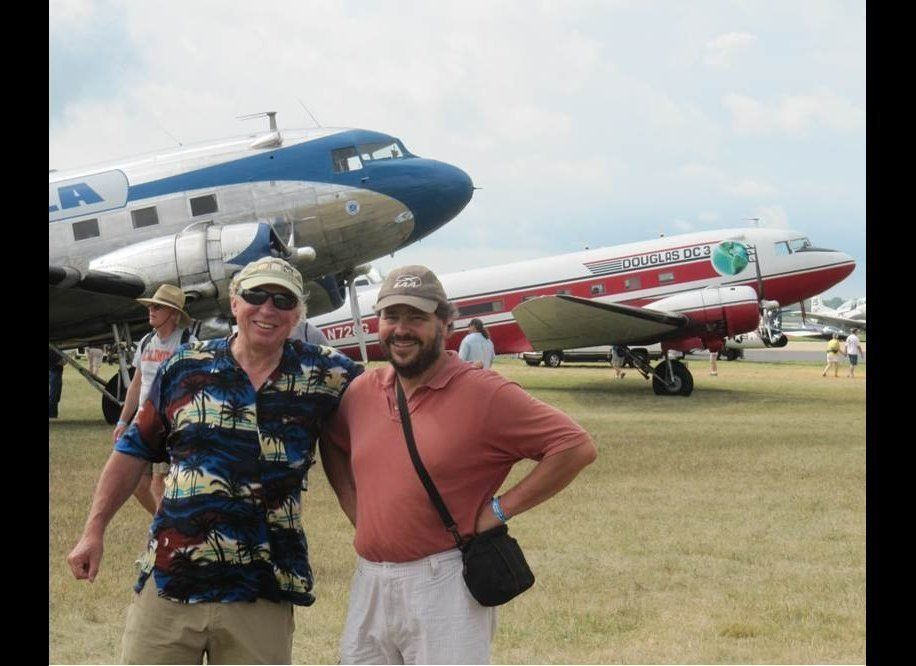 The author, on left, with host Paul in Oskkosh. Photo by Bret Cox