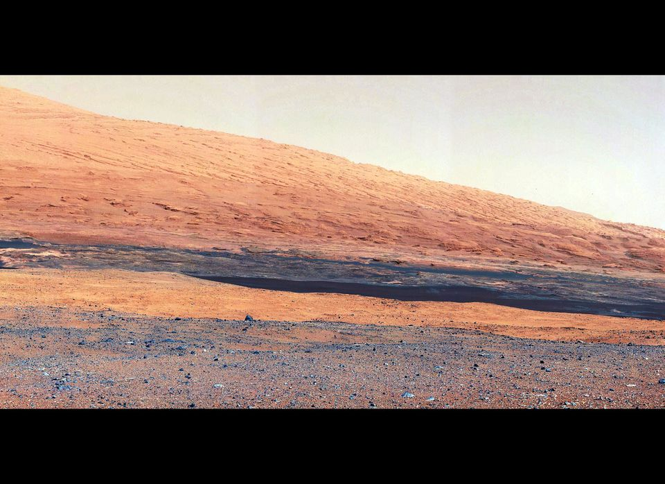 This image taken by the Mast Camera on NASA's Curiosity rover highlights the geology of Mount Sharp, a mountain inside Gale C