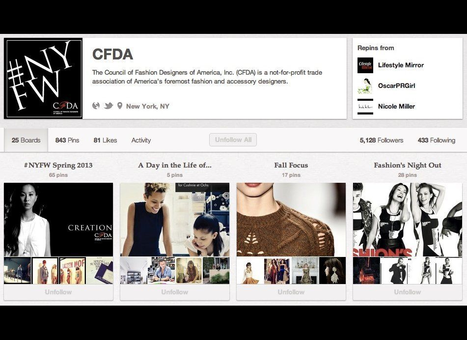 "<a href=""http://pinterest.com/cfda/"" target=""_hplink"">CFDA</a>: Of course the Council of Fashion Designers of America has ext"