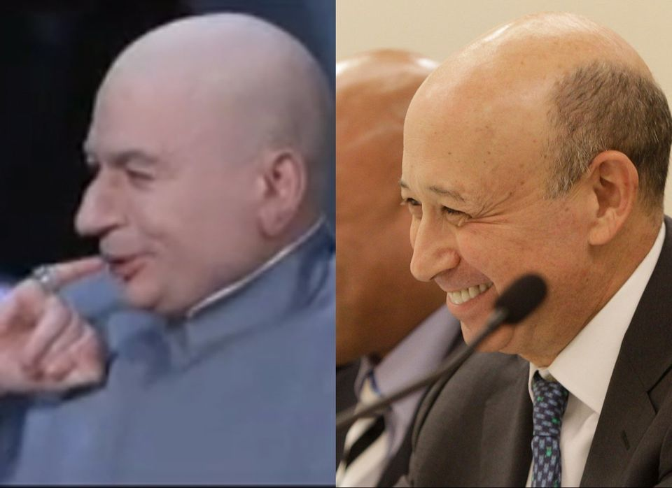 Dr. Evil from <em>Austin Powers</em>, played by Mike Meyers, and Goldman Sachs CEO Lloyd Blankfein.