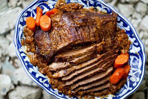 "<strong>Get the <a href=""http://www.simplyrecipes.com/recipes/beef_brisket_pot_roast/"">Beef Brisket Pot Roast recipe from Sim"