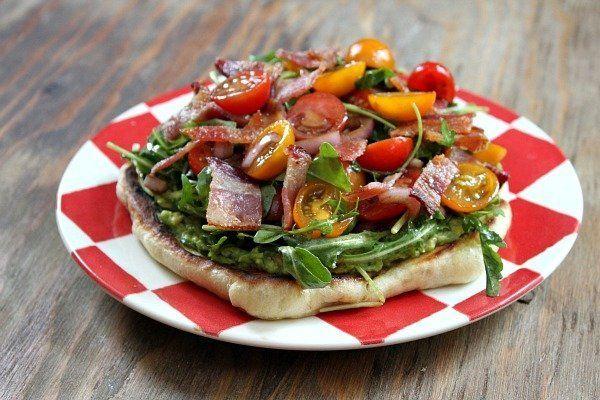 """<strong>Get the <a href=""""http://www.recipegirl.com/2013/10/03/bacon-avocado-griddle-pizzas/"""" target=""""_blank"""">Bacon Avocado Gr"""
