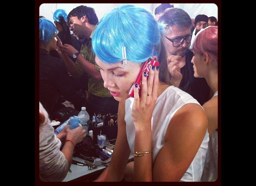 It's electric! Karlie Kloss sporting bright blue hair at Anna Sui Spring 2013. #nyfw #backstagebeauty