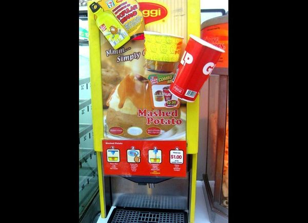 """7-Eleven's mashed potato dispenser takes convenience to another planet. The """"<a href=""""http://gizmodo.com/5926274/7-11-now-ser"""