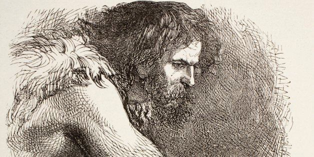 Timon In His Cave From Timon Of Athens By William Shakespeare. Prehistoric Man, Bearded And Dressed In Animal Skins. From The Illustrated Library Shakspeare, Published London 1890. (Photo by: Universal History Archive/UIG via Getty Images)