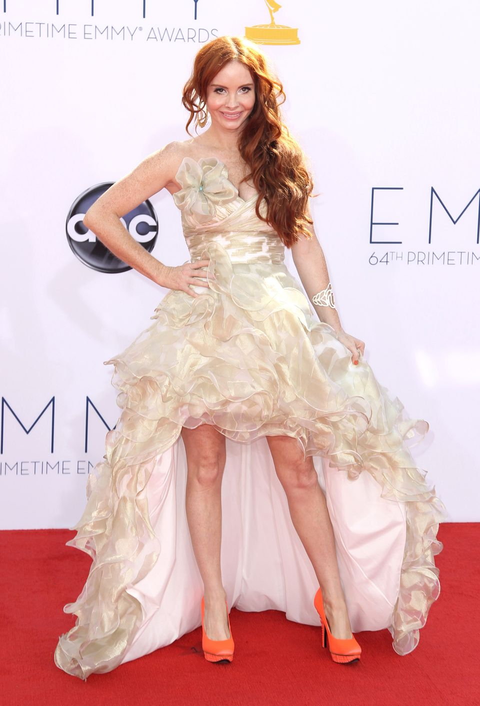 Phoebe Price in a ruffled sweetheart gown.