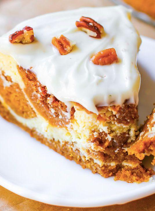 """<strong>Get the <a href=""""http://sallysbakingaddiction.com/2014/09/23/pumpkin-cake-cheesecake/"""" target=""""_blank"""">Pumpkin Cake C"""