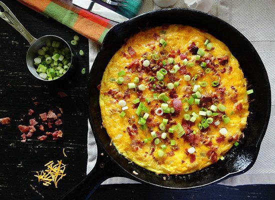 """<strong>Get the <a href=""""http://amandascookin.com/2012/03/cheesy-bacon-potato-frittata.html"""">Cheesy Bacon Potato Frittata rec"""