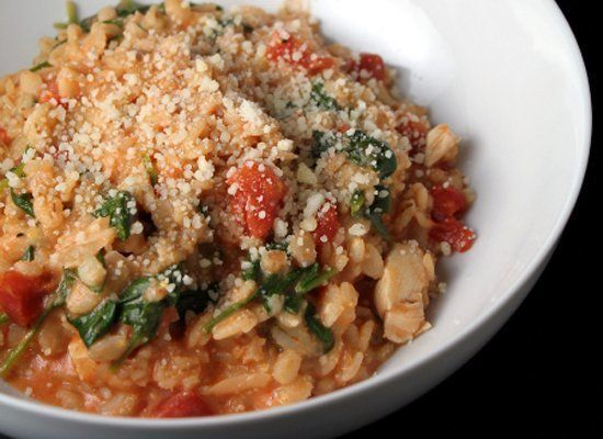 """<strong>Get the <a href=""""http://kitchentrialanderror.blogspot.com/2011/03/creamy-barley-with-tomatoes-chicken-and.html"""" targe"""