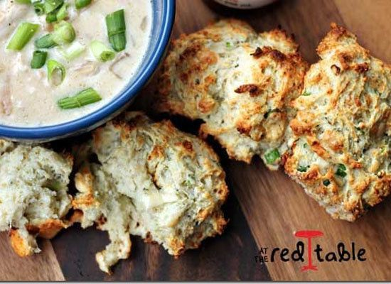 """<strong>Get the <a href=""""http://www.attheredtable.com/2012/09/blue-cheese-scallion-drop-biscuits.html"""">Blue Cheese & Scallion"""