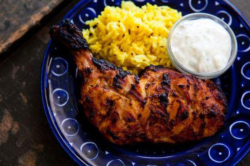 "<strong>Get the <a href=""http://www.simplyrecipes.com/recipes/tandoori_chicken/"" target=""_blank"">Tandoori Chicken</a> recipe"