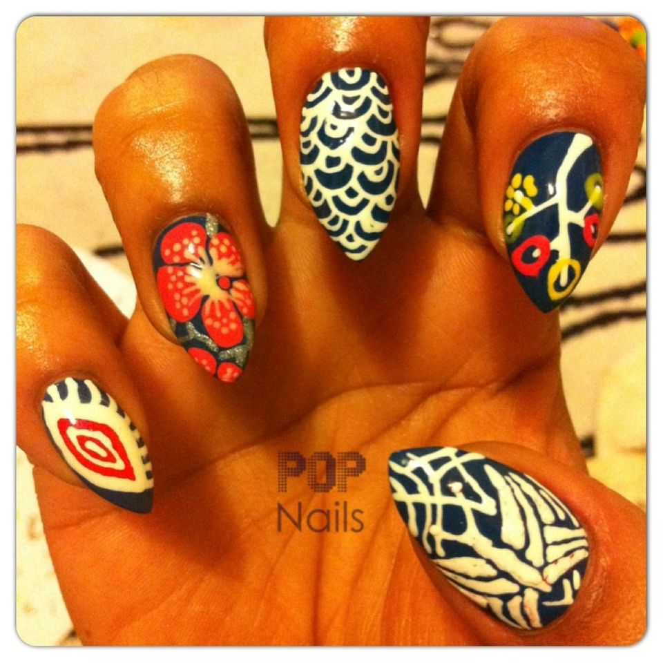 """This set was inspired by Japanese prints, fabrics, clothes and paintings. I used <a href=""http://www.nailsinc.com/nailpolish"