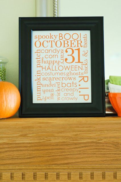 These word art collages of Halloween-inspired messages come in orange on white, white on orange and white on black. Choose yo