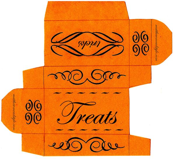 This printable can easily be folded into a neat little box for candy. Use them to hand out to trick-or-treaters, or if you're