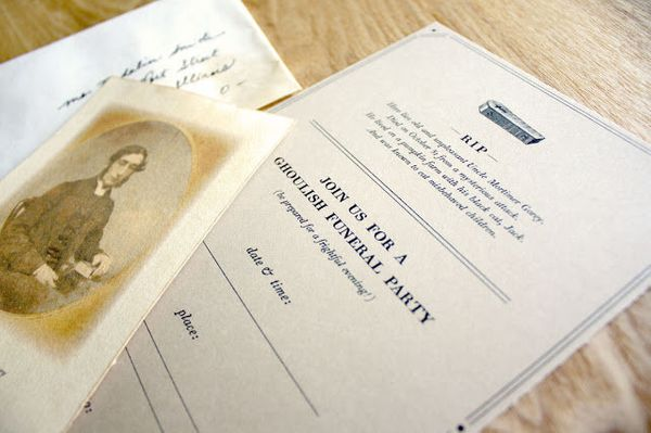 """Invite guests to your big bash with these (slightly morbid) festive party invitations.  (Photo by <a href=""""http://www.truly-s"""