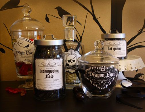 Turn your candy into delicacies that sound like they belong on an ingredient list for witch's brew with these eery labels.  (