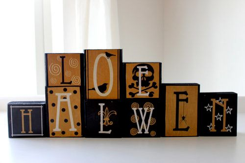 """Use mod podge to attach these letters onto wooden blocks for some funky home decor.  (Photo by <a href=""""http://poppiesatplay."""