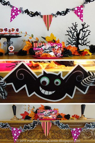 Friendly bats and colorful paper flags come together in this craft to make a bright and festive banner to decorate your home.