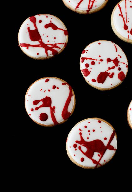 """<strong>Get the <a href=""""http://www.annies-eats.com/2012/10/29/blood-spatter-cookies/"""" target=""""_blank"""">Blood Spatter Cookies"""
