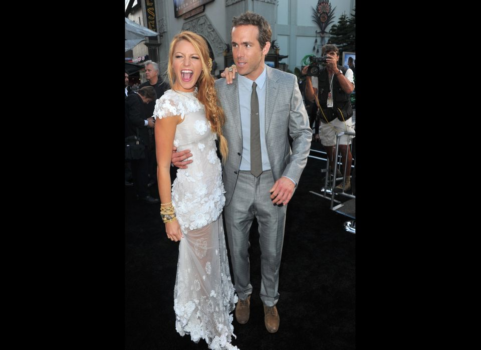 HOLLYWOOD, CA - JUNE 15:  Actors Blake Lively (L) and Ryan Reynolds arrive at the premiere of Warner Bros. Pictures' 'Green L