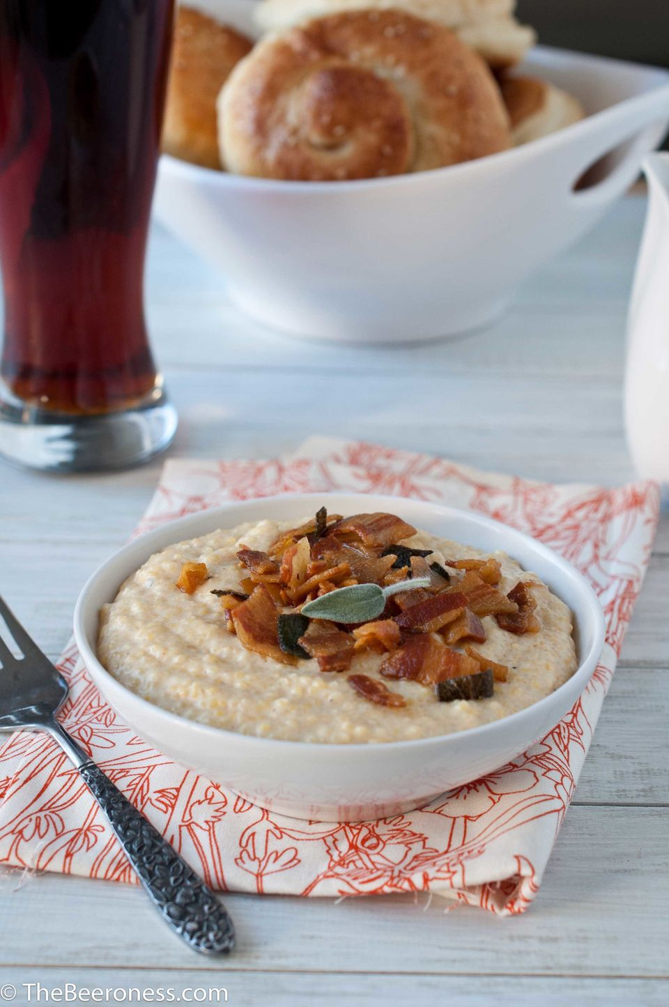 """<strong>Get the <a href=""""http://thebeeroness.com/2012/12/20/brown-ale-and-cheddar-grits-with-pancetta-and-crispy-sage/"""" targe"""