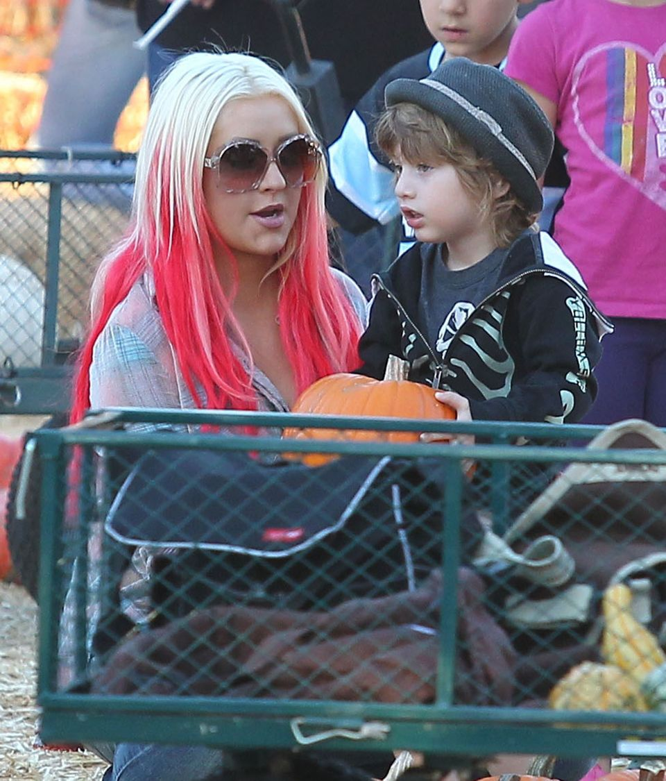Christina Aguilera and her son Max Bratman enjoyed an afternoon at Mr. Bones Pumpkin Patch in West Hollywood, Calif., on Octo