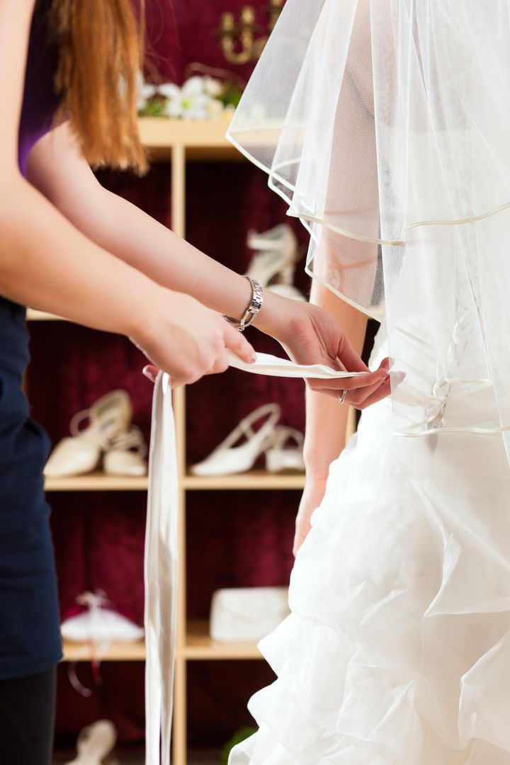 bride at the clothes shop for...