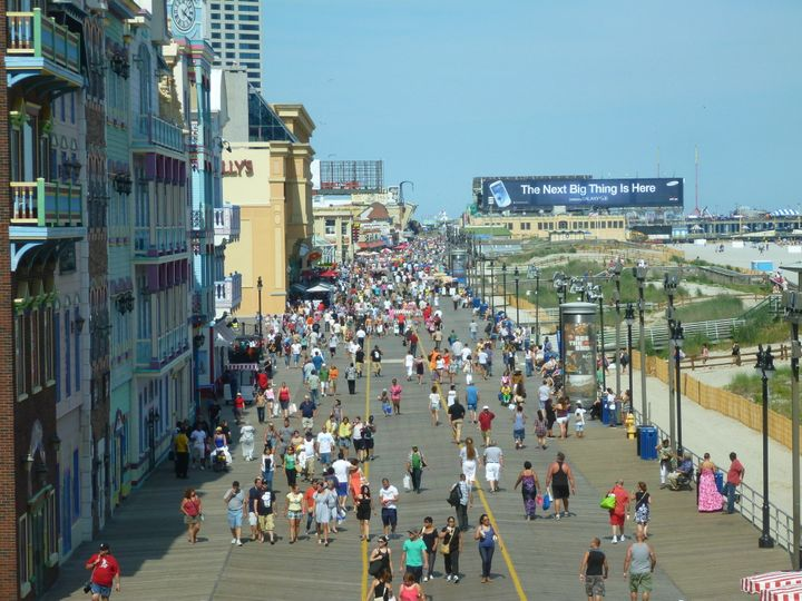 description 1 View of the Atlantic City Boardwalk, looking north from the skyway at Caesars Atlantic City, in Atlantic City,