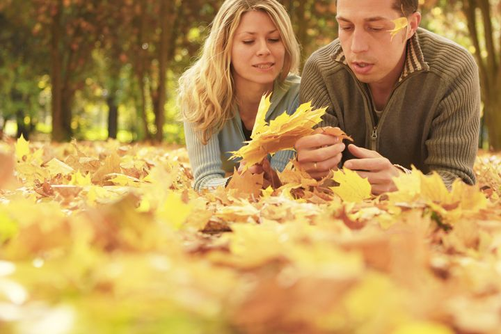 young couple in the autumn...