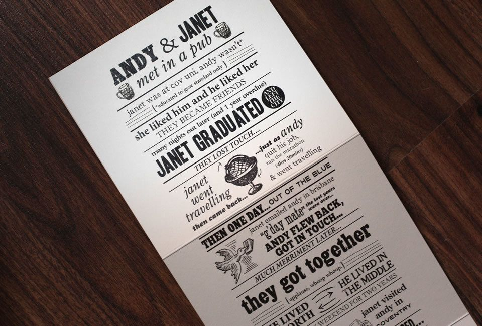Couples are thinking outside the box when it comes to wedding invitations and adding a sense of humor about it all. One of my